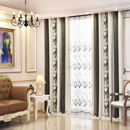 Gray Color Chenille Thermal Grommet Top Custom Curtain