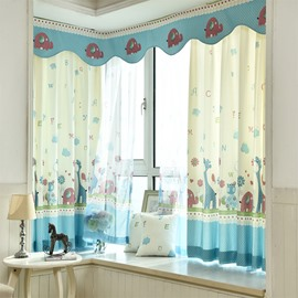Cartoon Zoo Printed Grommet Top Custom Curtain