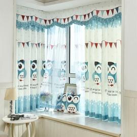 Cute Cartoon Owl Printed Grommet Top Custom Curtain