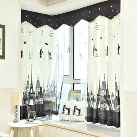 Black and White Eiffel Tower Printed Grommet Top Custom Curtain