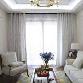Designer Tree Pattern Linen Grommet Top Custom Curtain