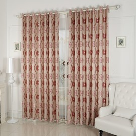 Red Floral Printing Blackout Custom Grommet Top Curtain