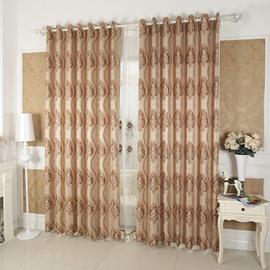 Coffee Damask Pattern Custom Grommet Top Curtain