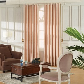 Concise Pink Linen Ventilate Custom Grommet Top Curtain
