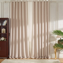 Concise Beige Linen Ventilate Custom Grommet Top Curtain