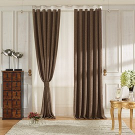 Concise Coffee Linen Ventilate Custom Grommet Top Curtain