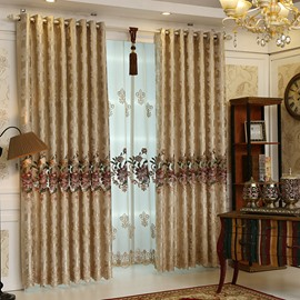 European Style Embroidered Ventilate Coffee Color Custom Grommet Top Curtain