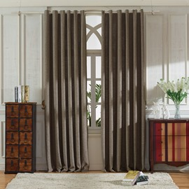 Concise Grey Linen Ventilate Custom Grommet Top Curtain