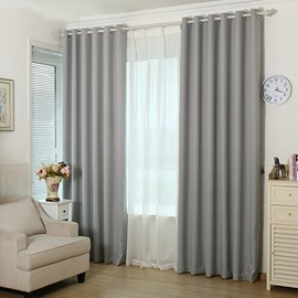 Blackout and Ventilate Solid Grey Grommet Top Curtain
