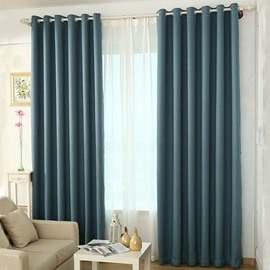 Blackout and Ventilate Solid Light Blue Grommet Top Curtain