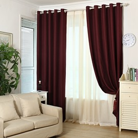 Blackout Solid Red Polyester and Lined Blend Grommet Top Curtain