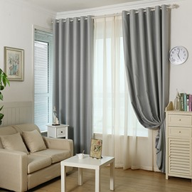 Blackout Solid Grey Polyester and Lined Blend Grommet Top Curtain