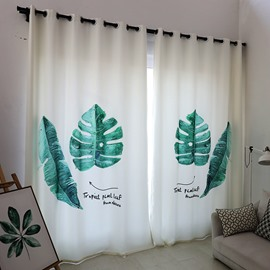 Blackout and Decoration Polyester and Cotton Wonderful Fern Leaves Concise Style 2 Panels Curtain