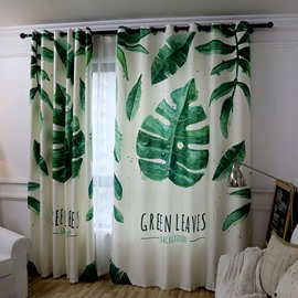 Decoration and Blackout Polyester Cotton Big Green Leaves Fresh Nordic Style Room Curtain