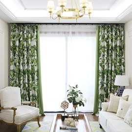 Blackout and Decoration Polyester Cotton Green Leaves Pastoral Style Grommet Top Curtain