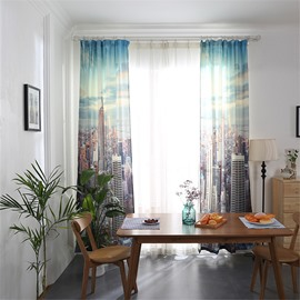 Blackout and Decoration Polyester Cotton Buildings Printed Modern Style 2 Panels Curtain