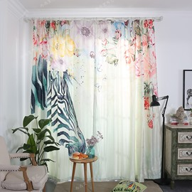 Blackout and Decoration Polyester Cotton 3D Zebra and Flowers Printed 2 Panels Curtain