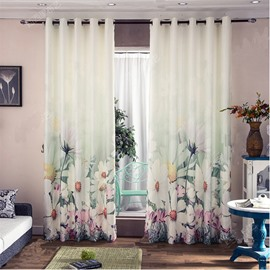 Decoration and Blackout Polyester Cotton 3D Beautiful White Chrysanthemums Printed 2 Panels Curtain
