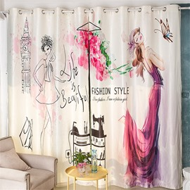 Decoration and Blackout Polyester 3D Beautiful Pink Lady Printed Comic Style 2 Panels Curtain