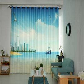 Decoration and Blackout Polyester Digital Printing Coastal Scenery 2 Panels Curtain