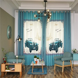 Decorative and Blackout Polyester Digital Printing Blue Cars Modern Style 2 Panels Curtain