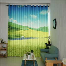 Decorative and Blackout Thick Polyester Beautiful Green Plants Pastoral Style 2 Panels Curtain
