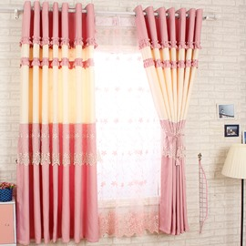 Decorative Polyester Cotton Pink Color Lace Border Romantic Style Grommet Top Curtain