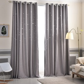 Decorative and Blackout Thick Polyester Hollowing Stars Korean Style 2 Panels Curtain