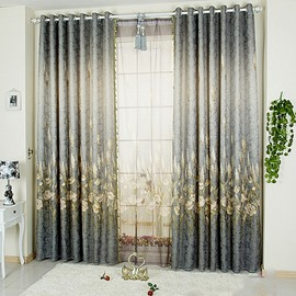Decorative and Blackout Polyester Embroidered Plants and Flowers European Style Grommet Top Curtain