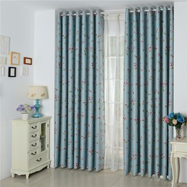 Decorative Polyester Peach Blossoms Printing Pastoral Style 2 Panels Grommet Top Curtain