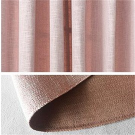 Thick Polyester Pink Solid Curtain Modern and Sweet Style 2 Panels Blackout Curtain