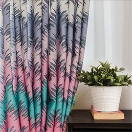 Decorative and Blackout Geometry Patterns Printing Pastoral and Fresh Living Room Window Curtain