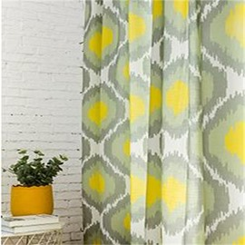 North European Linen Materials Living Room and Bedroom 2 Panels Decorative Curtain