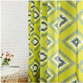 Yellow Green North European Living Room and Bedroom 2 Panels Decorative and Shading Curtain