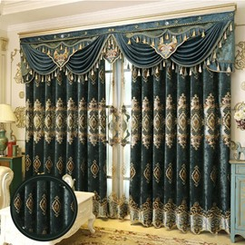 European Luxury Chenille Embroidery Window Curtains Custom 2 Panels Drapes for Living Room Bedroom Decoration No Pilling No Fading No off-lining