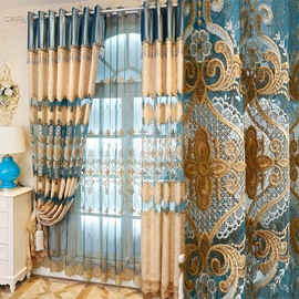 Light Blue and Beige Hollowed-out Flowers Pattern Decorative and Blackout Window Curtain