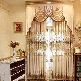 Beige Curtain Chenille Drapes with Hollowed-out Flowers 2 Pieces Living Room Curtain