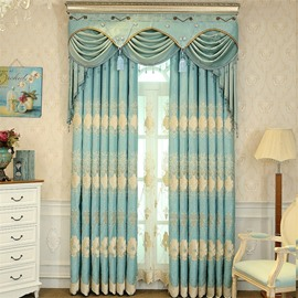 Decorative and Blackout Light Green with Embroidered Flowered 2 Pieces Grommet Top Curtain