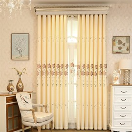 Decorative and Blackout Yellow Color with Embroidered Lily Flowers 2 Panels Window Shading Curtain