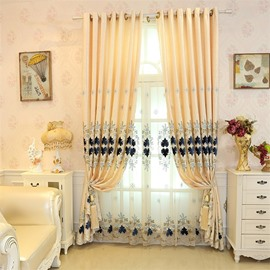 Soft and Elegant Chenille with Embroidered Damask Pattern Decorative Living Room Curtain