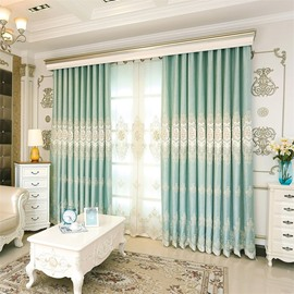 Decorative Modern and Fresh Style Green Color with Embroidered Flowers Blackout Curtain