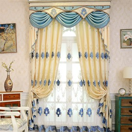 Elegant Beige Chenille with Classical Damask Pattern 2 Panels Bedroom Grommet Top Curtain