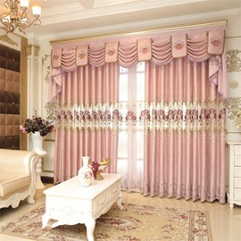 Romantic and Elegant Pink Color with Embroidered Flowers Living Room Grommet Top Curtain