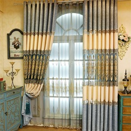 Grey and Beige Stitching with Hollowed-out Patterns Living Room and Bedroom Window Curtain