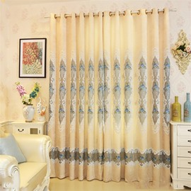 Yellow Color High Quality Chenille with Wonderful Patterns Living Room Curtain