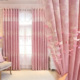 Romantic Pink Color Pastoral Style Embroidered Living Room Finished Product Shading Cloth