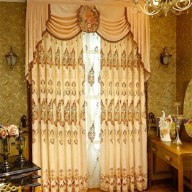 Noble and Elegant Yellow Color Classical Pattern 2 Panels Living Room Curtain