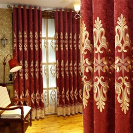 European and Noble Red with Embroidered Pattern 2 Panels Custom Living Room Curtain