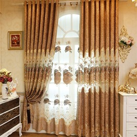 Elegant and Popular European Style Brown Hollow Embroidered Grommet Top Curtain