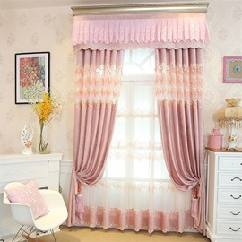 European Style Romantic Pink Custom Chenille Living Room Grommet Top Curtain